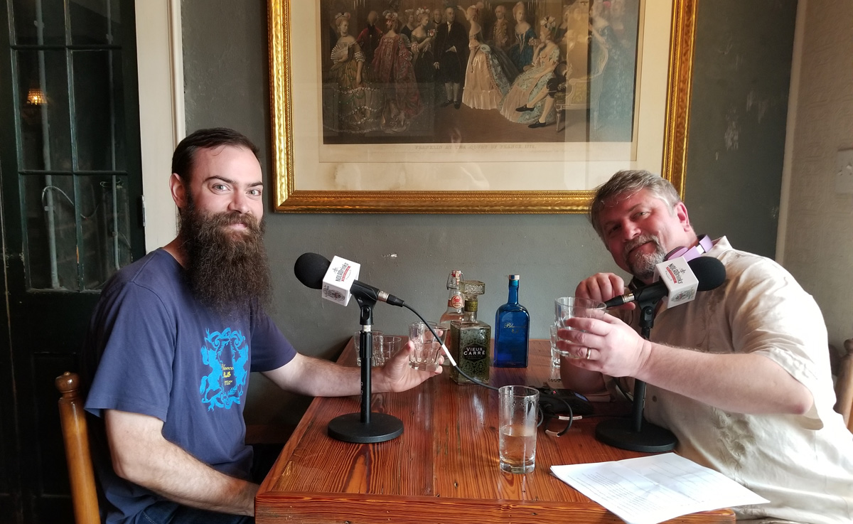 On the NOLADrinks Show - Aaron Selya of Philadelphia Distilling (left) and Bryan Dias of NOLADrinks (right).