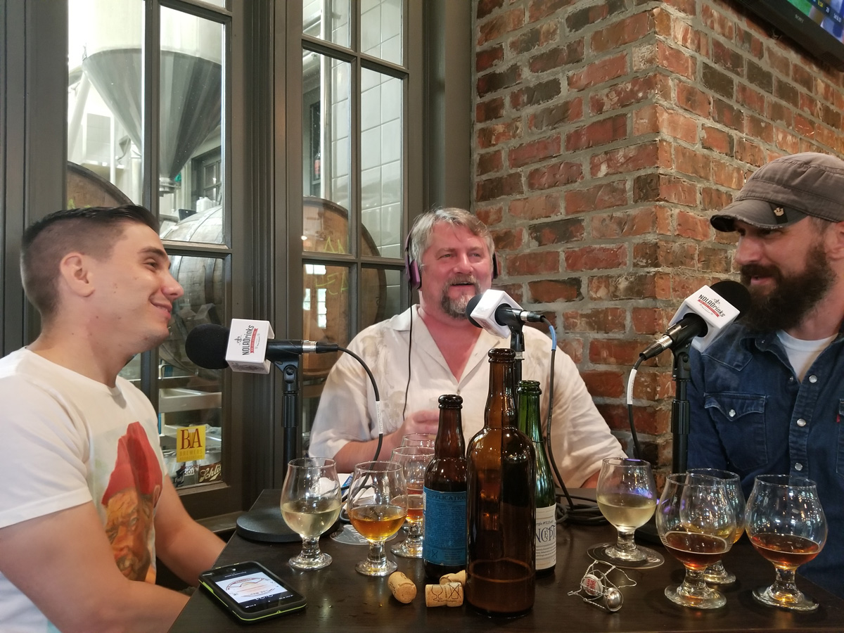 Talking Sour Beer at Old Rail Brewing Company in Mandeville. From left - Sal Mortillaro, beer judge, Bryan Dias of NOLADrinks, and Matt Horney, brewmaster of Old Rail.