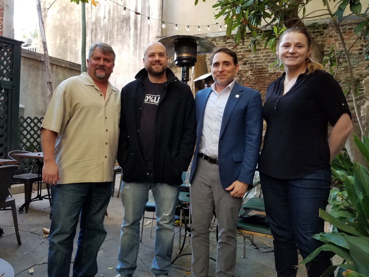 The NOLADrinks Show - 12-10-18 - Pictured above from left - Bryan Dias of The NOLADrinks Show, Ethan Ellestad of the Music and Culture Coalition of New Orleans, Jeremy Cooker of the New Orleans and Tourism Marketing Corporation, and Erica Dudas of the New Orleans Musician