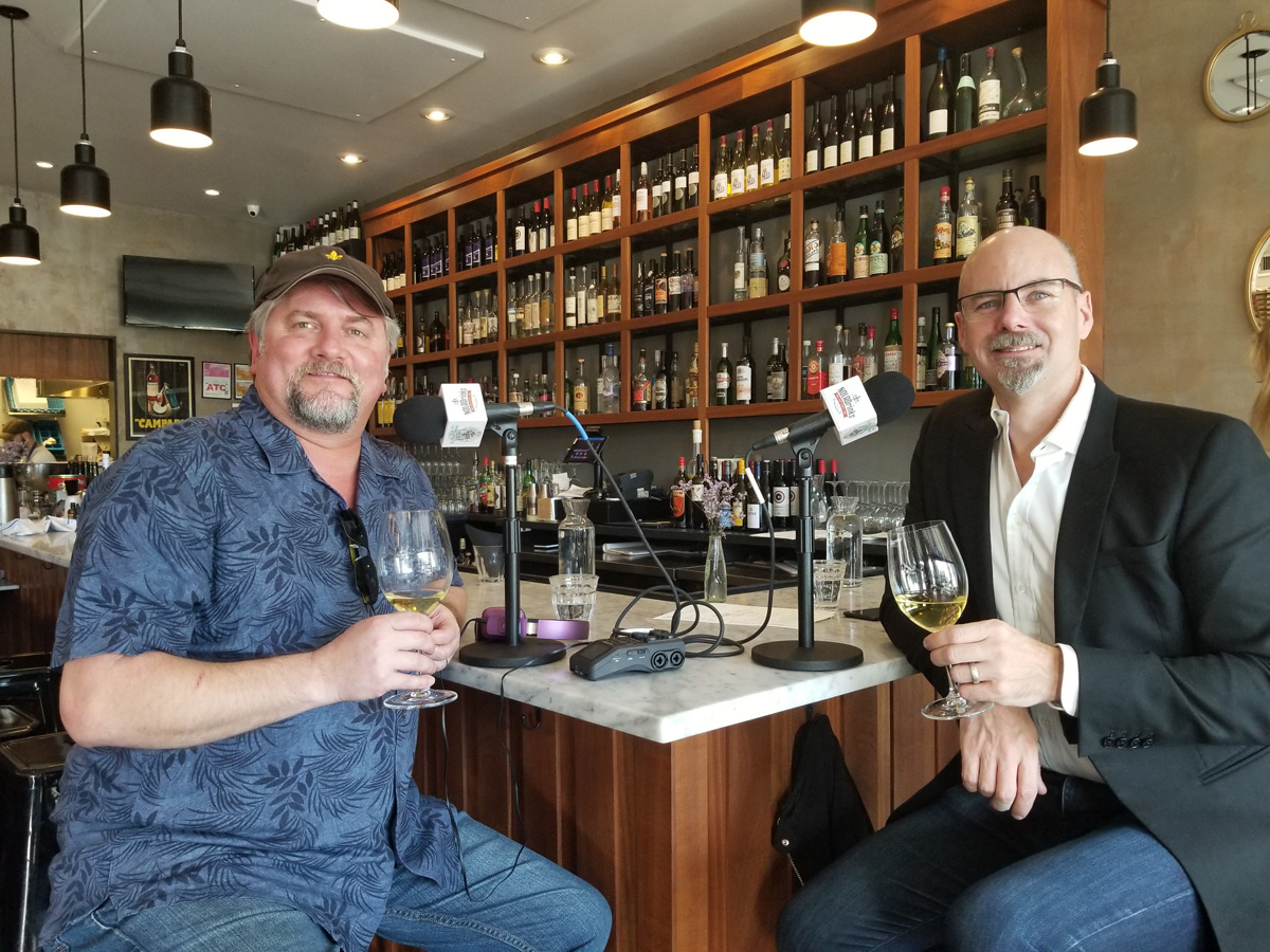Pictured above from left - Bryan Dias of The NOLADrinks Show and Jim Clarke of Wines of South Africa at Bar Frances in New Orleans.