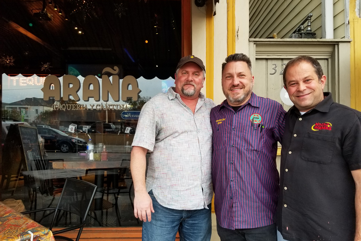 Talking NOLA Agave Week and Top Taco at Araña Taqueria. Pictured from left - Bryan Dias of The NOLADrinks Show, Richard Papier of Araña, and Shane Finkelstein of NOLA Agave Week and Top Taco.