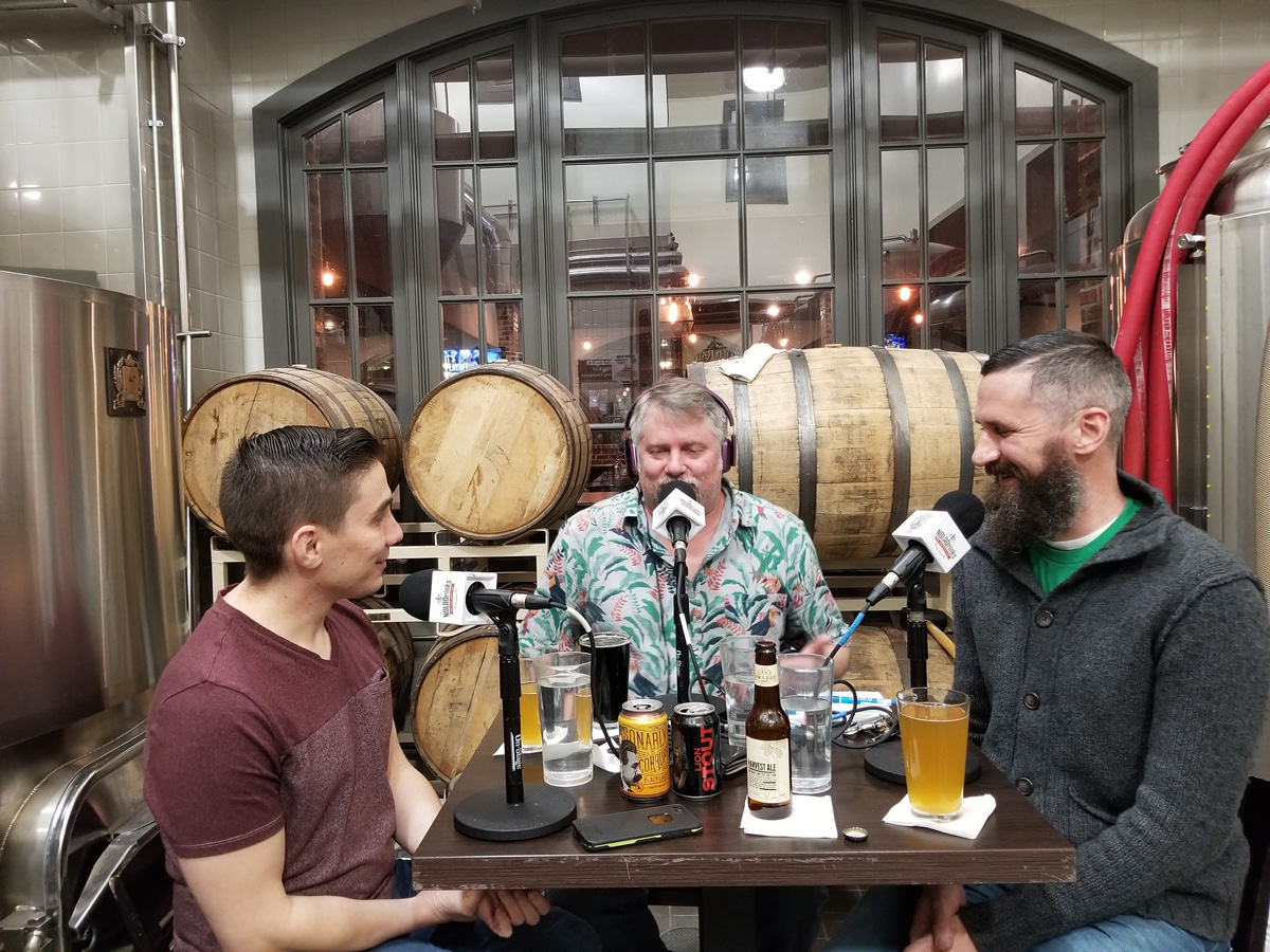 The NOLADrinks Show - Winter Beers and the Role of Yeast in Brewing at Old Rail Brewing Co. Pictured from left - Sal Mortillaro, beer judge and writer, Bryan Dias of NOLADrinks, and Matt Horney of Old Rail Brewing Co.