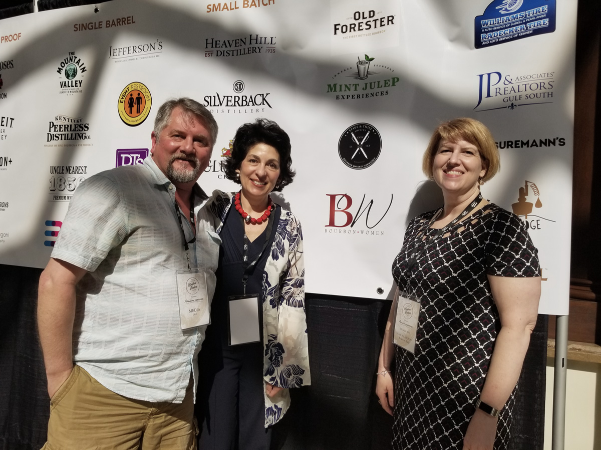 NOLADrinks Show - 4-1-19 - New Orleans Bourbon Festival - Bryan Dias of The NOLADrinks Show, Peggy Noe Stevens, and Carla Carlton.