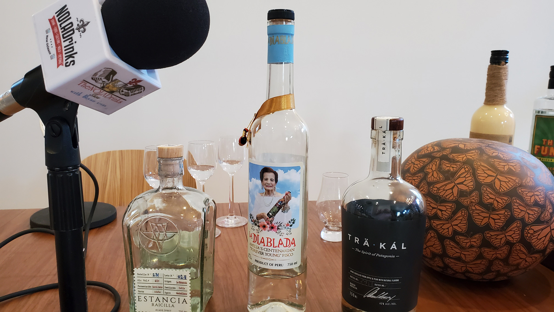 NOLADrinks Show – Liquid Luggage and Spirits Brokering with PM Brokerage – May20Ep3 – Some spirits we sampled in Liquid Luggage #3 – Estancia Racilla, Macchu Pisco La Diablada, and Träkál.