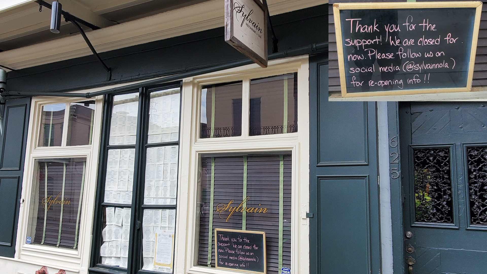 NOLADrinks Show – Restaurant Business and Re-Opening the Economy Amid Covid-19 – May20Ep1. Shot of Sylvain, affine restaurant and bar in the French Quarter of New Orleans during the Covid-19 shutdown.