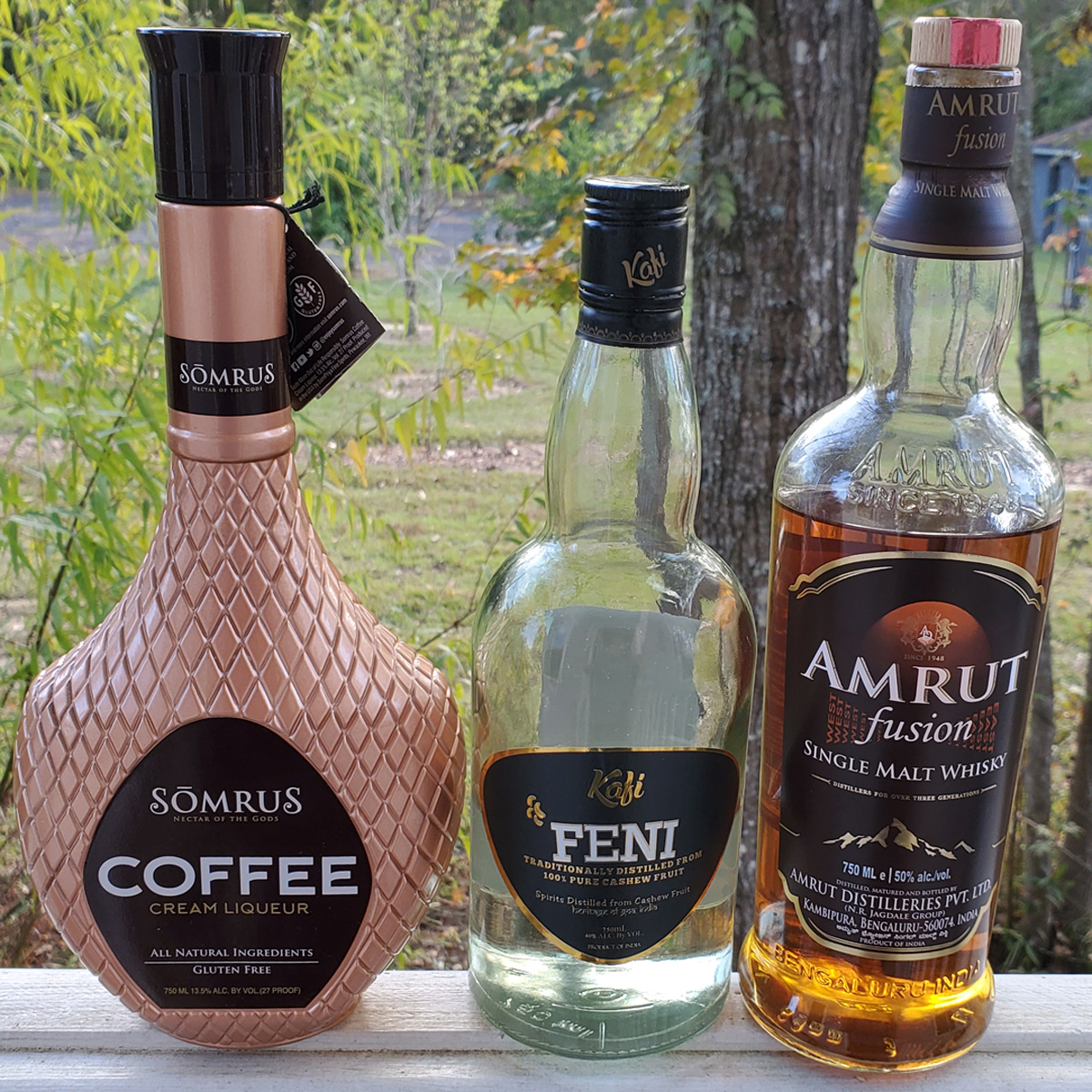 "The NOLADrinks Show – Spirits of India – Nov20Ep2 – Here's a bit (but not all!) of what we tasted on the show – Somrus Coffee Cream Liqueur, Kafi Feni by Heritage Spirits, and Amrut ""Fusion"" Single Malt Whisky."