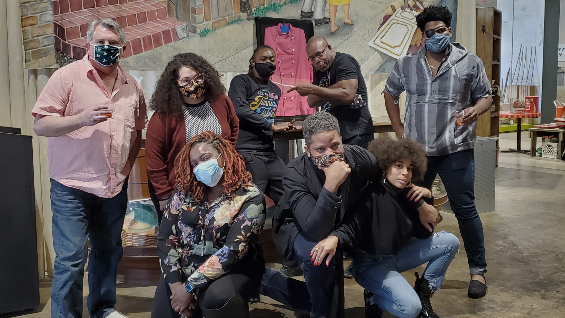 The NOLADrinks Show – Turning Tables – 2021Ep1 – From left front – Alana Peck, Touré Folkes, Deniseea Taylor. From left back row – Bryan Dias, Roxy Eve Narvaez, Jeri Guilford, Geoffrey Wilson, and Tim Stevens.